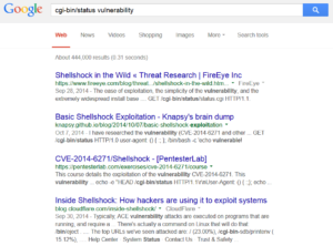 Screenshot of Google search results of the Shellshock vulnerability