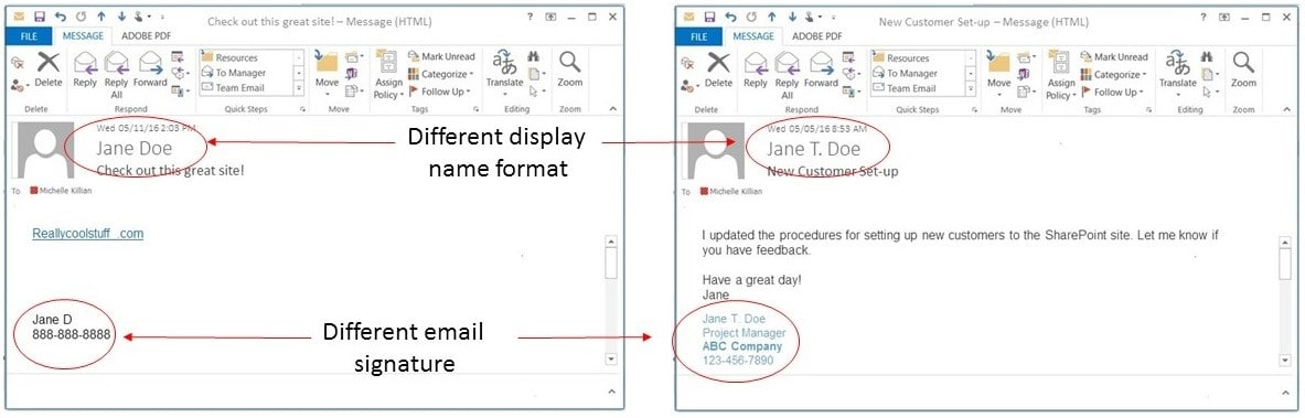 Check Display Name Format and Email Signature for Consistency