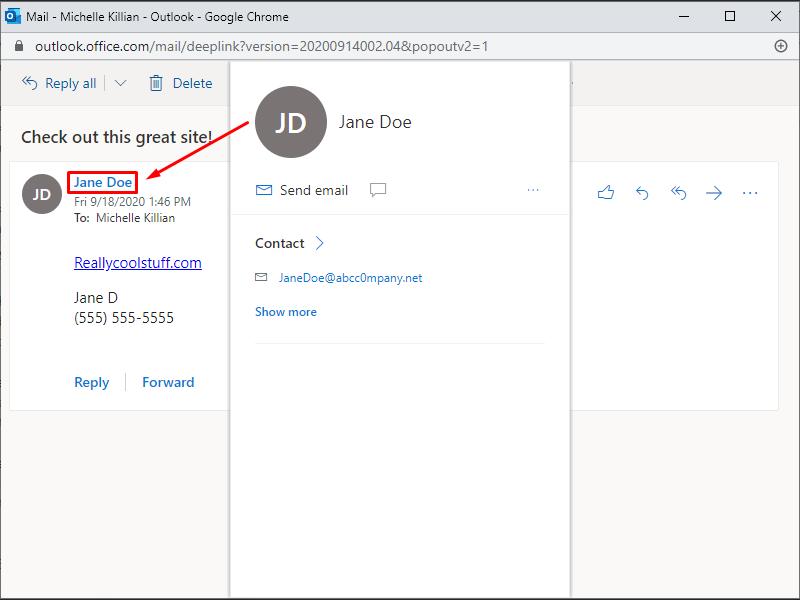 Phishing email using similar, but fake domain
