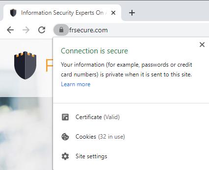 Secure Website Connection Chrome SSL