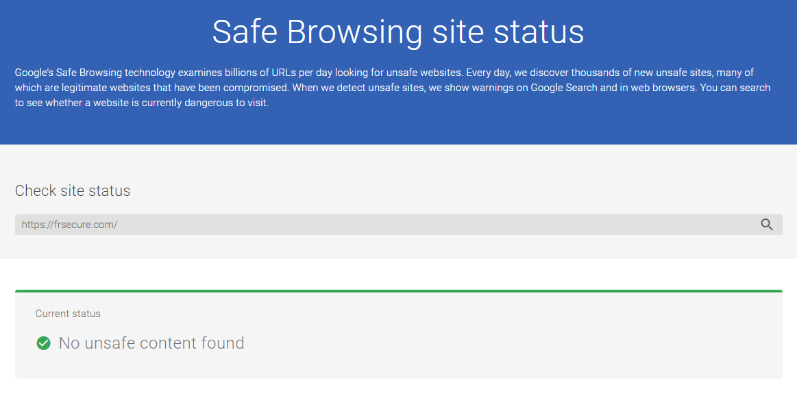 Google Transparency Report Safe Browsing site status