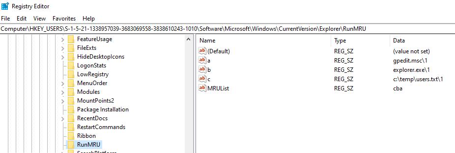"Windows ""Run"" records"