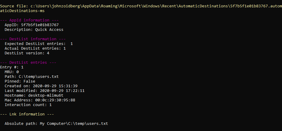 Parsed Jump List output from JLECmd