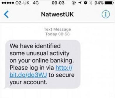 Smishing Phishing Attack Example
