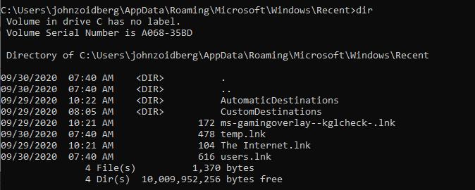 Recent folder viewed via command line