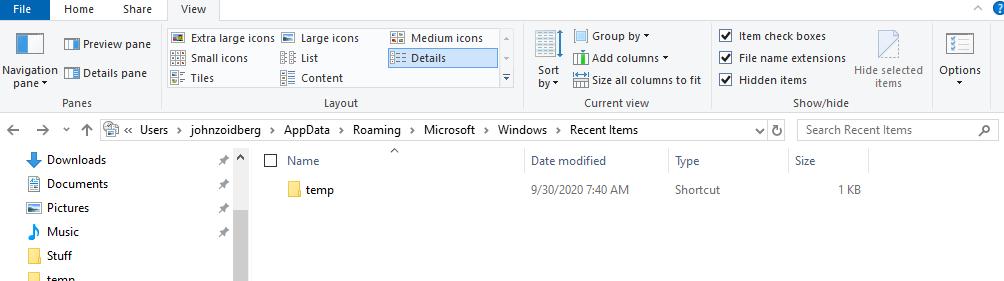 Recent folder viewed in Windows Explorer