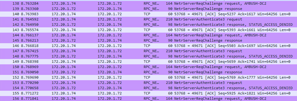 Wireshark capture from early in the CVE-2020-1472 attack process