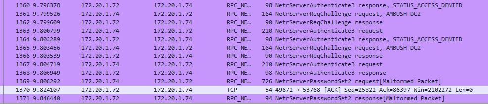 Wireshark capture of the successful CVE-2020-1472 exploit and setting the computer account password (NetrServerPasswordSet2).