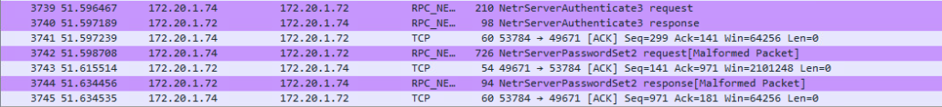 Wireshark capture of second password reset during CVE-2020-1472 exploit