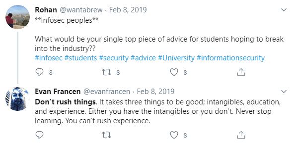 evan francen tweet about getting into security