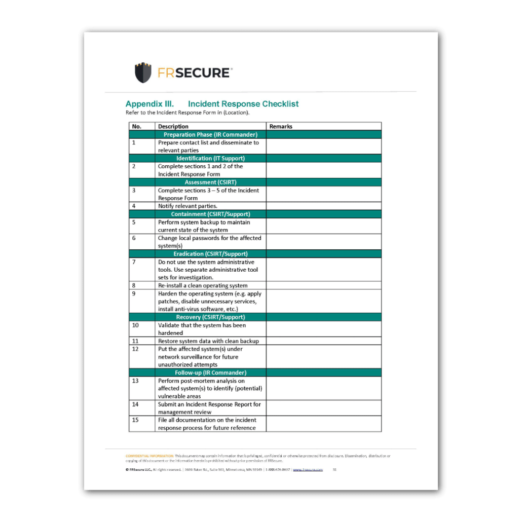 Incident Response Plan Template Sample Page 1