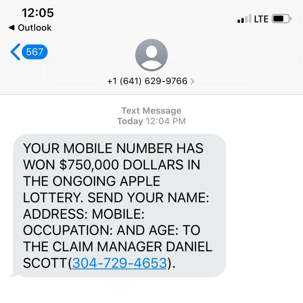 example of a phishing attempt via text message aka smishing