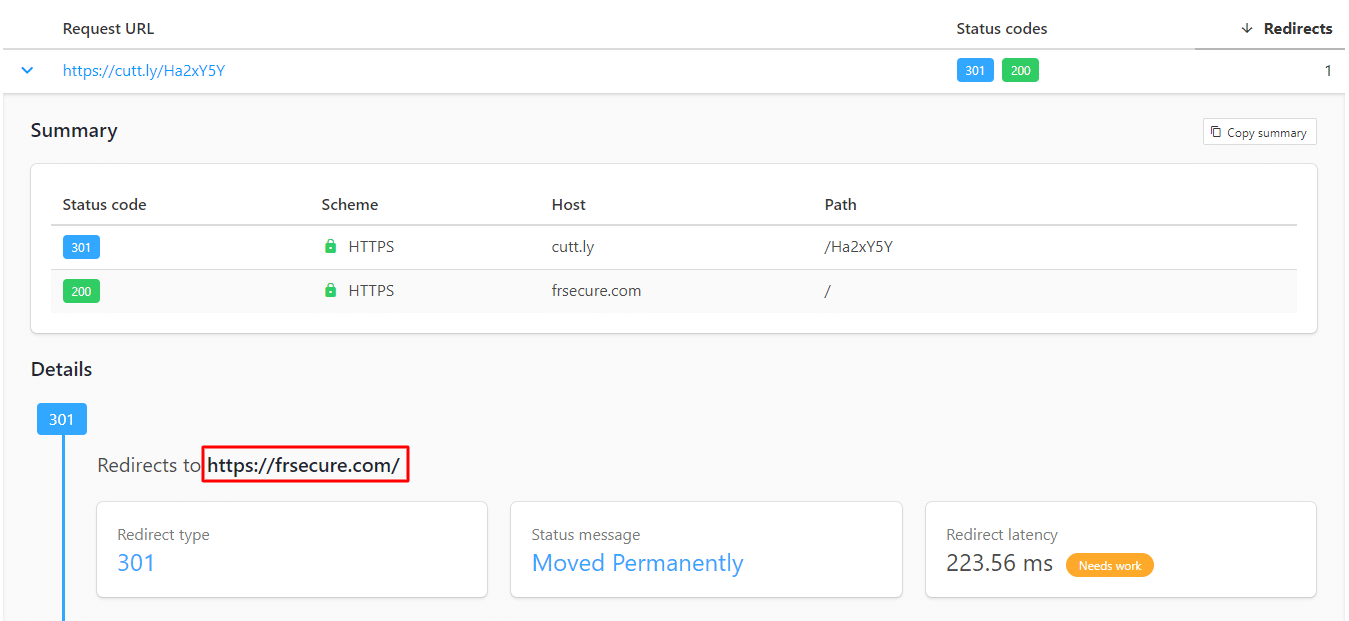httpstatus interface which helps show the final destination of links - useful in identifying phishing links